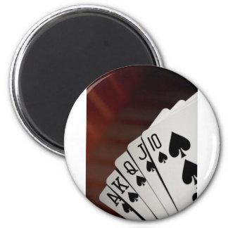 Spades Royal Flush 6 Cm Round Magnet