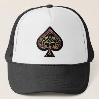 Spades Symbol: Orange & Red: Trucker Hat