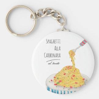 Spaghetti Alla Carbonara Basic Round Button Key Ring