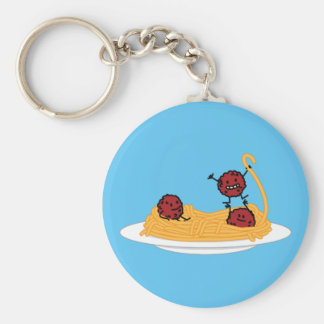 Spaghetti and meatballs pasta noodles Italian food Basic Round Button Key Ring