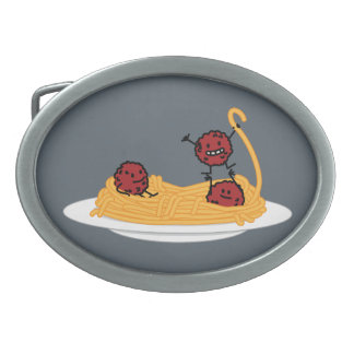 Spaghetti and meatballs pasta noodles Italian food Belt Buckles