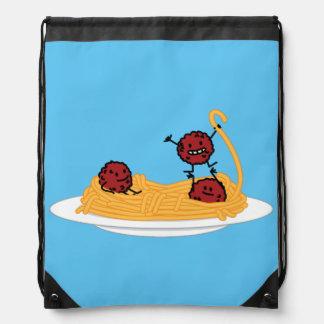 Spaghetti and meatballs pasta noodles Italian food Drawstring Bag