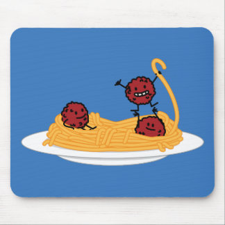 Spaghetti and meatballs pasta noodles Italian food Mouse Mat