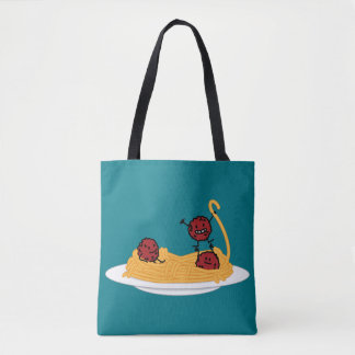 Spaghetti and meatballs pasta noodles Italian food Tote Bag