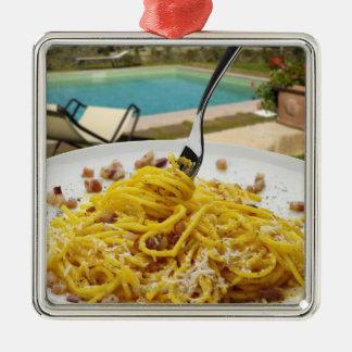 Spaghetti Carbonara Silver-Colored Square Decoration