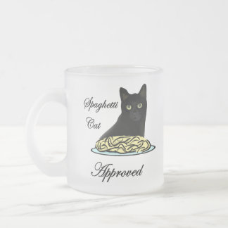 Spaghetti Cat Approved Frosted Glass Mug