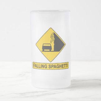 Spaghetti Falls Out Frosted Glass Mug