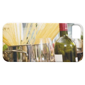 Spaghetti in pan with wine bottle and glasses barely there iPhone 5 case