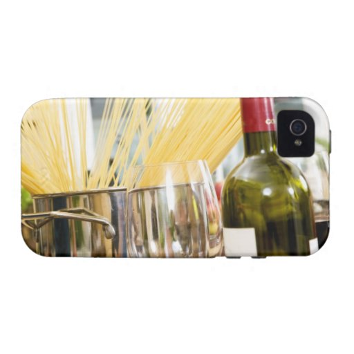 Spaghetti in pan with wine bottle and glasses iPhone 4/4S cover