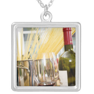 Spaghetti in pan with wine bottle and glasses custom necklace