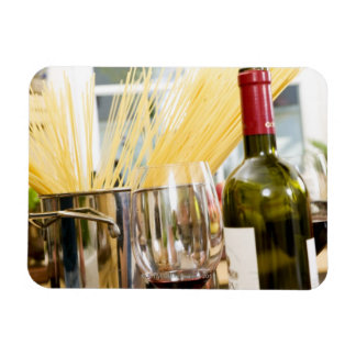 Spaghetti in pan with wine bottle and glasses rectangular photo magnet