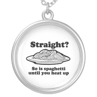 Spaghetti is Gay Round Pendant Necklace