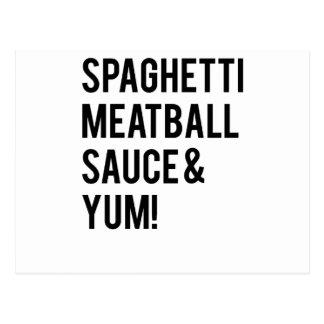 Spaghetti Meatball Sauce and Yum Postcards