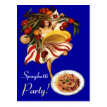 SPAGHETTI PARTY DANCE,ITALIAN KITCHEN AND TOMATOES POST CARD