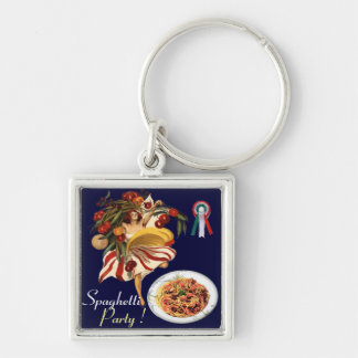 SPAGHETTI PARTY DANCE,ITALIAN KITCHEN AND TOMATOES Silver-Colored SQUARE KEY RING