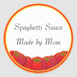 Spaghetti Sauce Custom Canning Labels Round Sticker