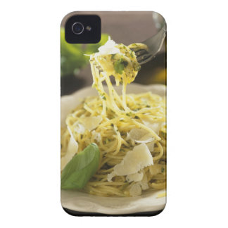 Spaghetti with basil and parmesan on plate, iPhone 4 covers