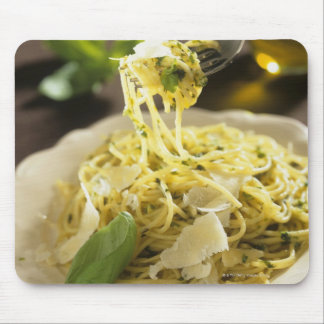 Spaghetti with basil and parmesan on plate, mouse mat