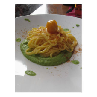 Spaghetti with bottarga on asparagus sauce postcard