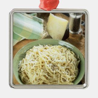 Spaghetti with Pecorino romano and black Christmas Ornament