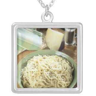 Spaghetti with Pecorino romano and black Silver Plated Necklace