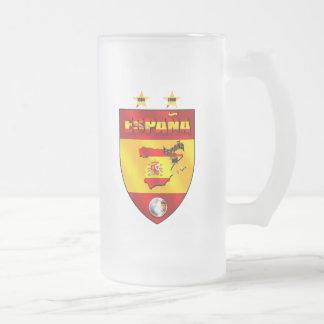 Spain 1964 2008 soccer futbol emblem shield frosted glass mug
