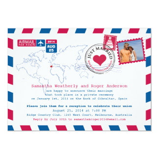 Spain Air Mail Post Wedding Reception Card