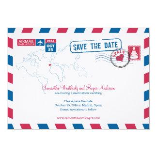 Spain Air Mail Wedding Save The Date 13 Cm X 18 Cm Invitation Card