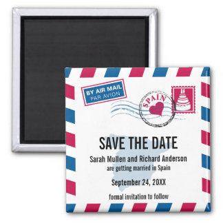 Spain Air Mail Wedding Save the Date Magnet