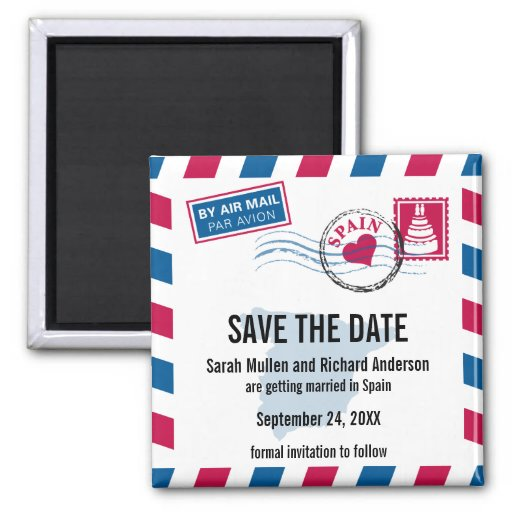 Spain Air Mail Wedding Save the Date Fridge Magnets