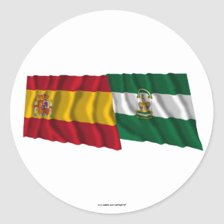 Spain and Andalucía waving flags Classic Round Sticker