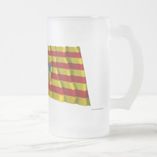 Spain and Aragón waving flags Frosted Glass Mug