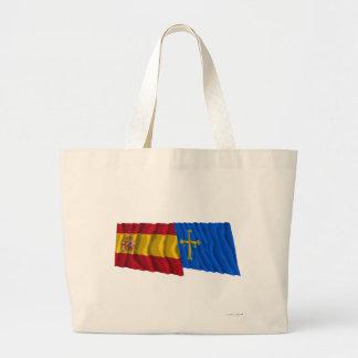 Spain and Asturias waving flags Large Tote Bag
