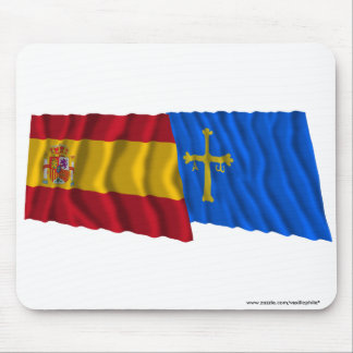 Spain and Asturias waving flags Mouse Mat