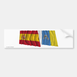 Spain and Canary Islands Waving Flags Bumper Sticker