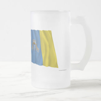 Spain and Canary Islands Waving Flags Frosted Glass Mug