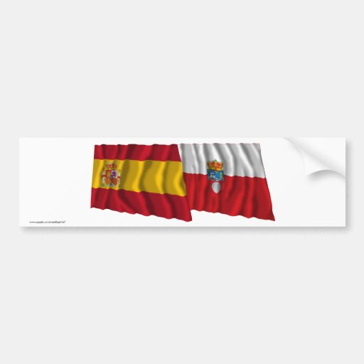Spain and Cantabria waving flags Bumper Stickers