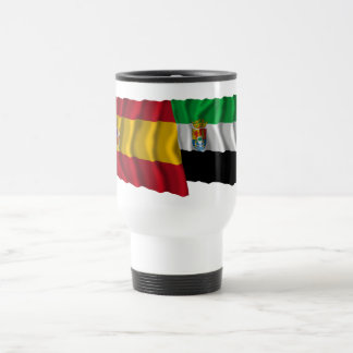 Spain and Extremadura waving flags Stainless Steel Travel Mug