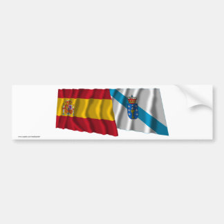 Spain and Galicia waving flags Bumper Sticker