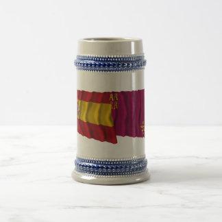 Spain and Murcia waving flags Beer Steins