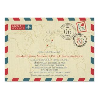 Spain and Poland Airmail | Wedding 13 Cm X 18 Cm Invitation Card