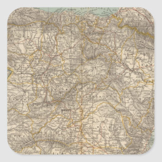 Spain And Portugal Atlas Map Square Sticker