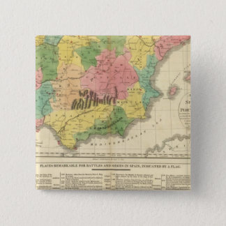 Spain and Portugal Chronology Map 15 Cm Square Badge