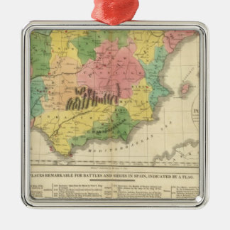 Spain and Portugal Chronology Map Christmas Ornament