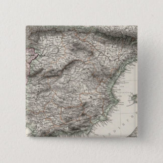 Spain and Portugal Map by Stieler 15 Cm Square Badge