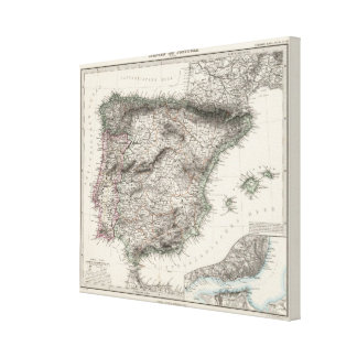 Spain and Portugal Map by Stieler Canvas Print