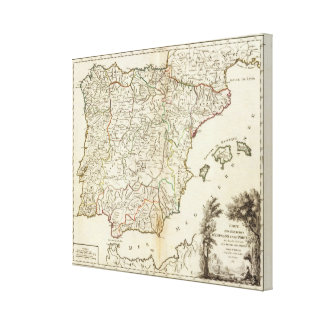 Spain and Portugal Postal Roads Canvas Print