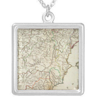 Spain and Portugal Postal Roads Silver Plated Necklace