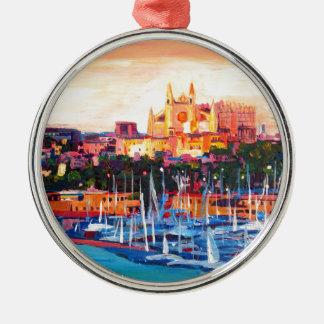Spain Balearic Island Palma De Mallorca Silver-Colored Round Decoration
