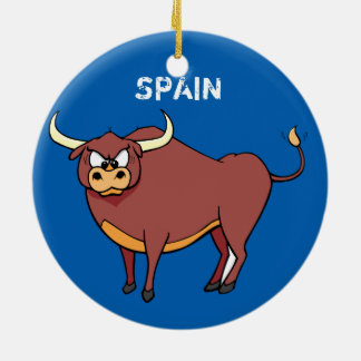 Spain Bull Fun Christmas Circle Ornament